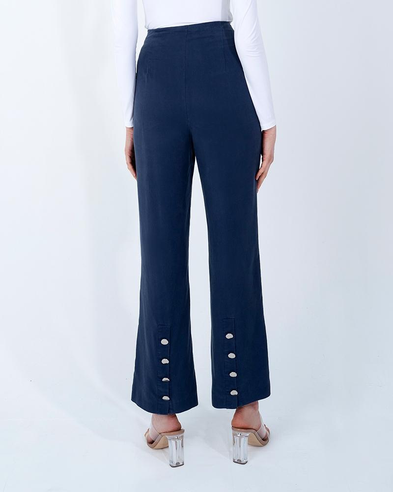 BACK SLIT TENCEL PANTS-ENSIGN BLUE